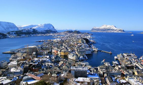 Aalesund, a picturesque city on the west coast of Norway.