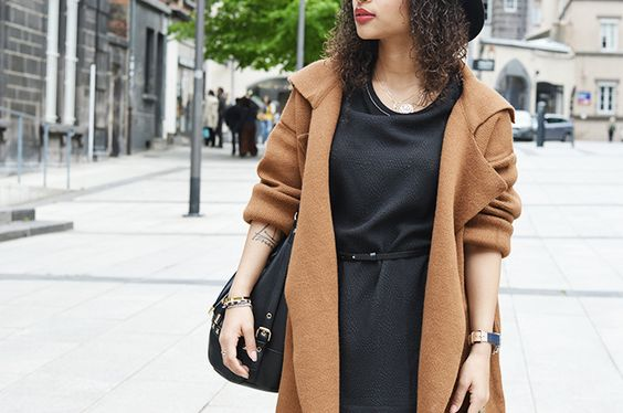 Julinfinity: Camel coat and black dress GILDAC by DEUX TWO