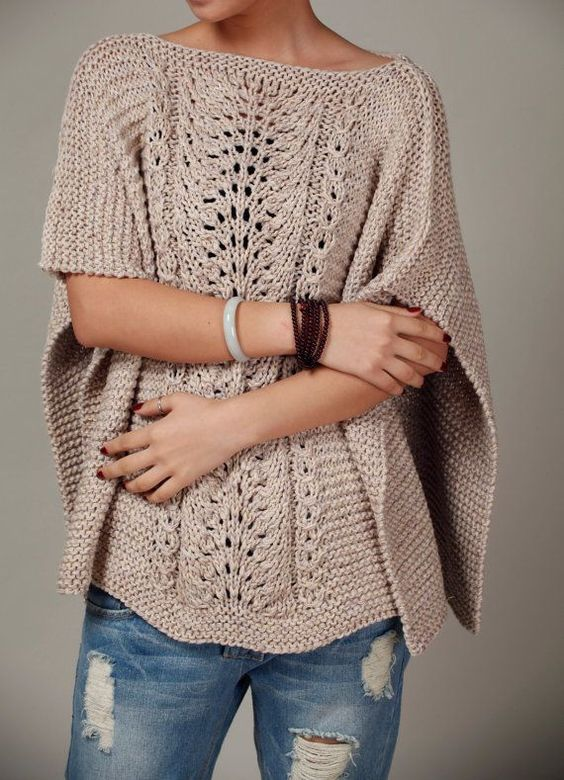 Knitting Poncho With Two Rectangles : Knitted poncho in wheat no pattern as it s a retail