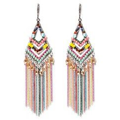 "Women's Natasha Accessories  Fringe Earring with Beads - Multicolor (4"")"