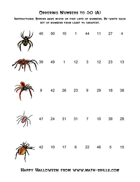 Halloween Math Worksheet -- Spiders Ordering Numbers to 50 (A ...