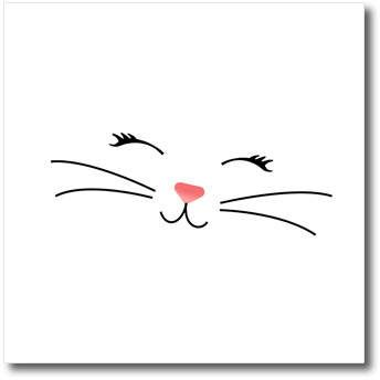 3drose Too Cute White Kitty Cat Face Nose And Whiskers Quilt Square 6 By 6 Inch Cat Face Drawing Cat Face Arts Crafts Sewing