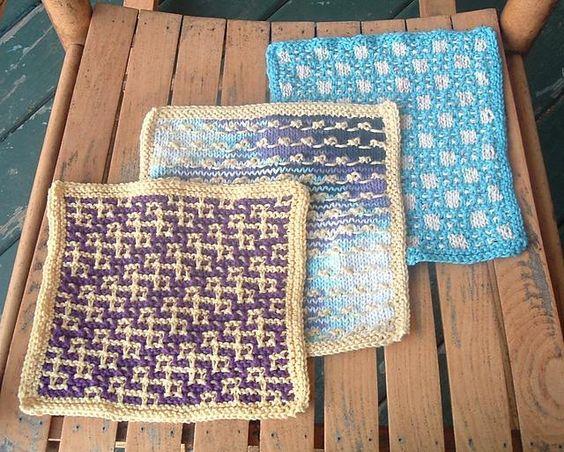 knit dishcloth colourwork not fair isle | çok renkli örgü şemaları ...