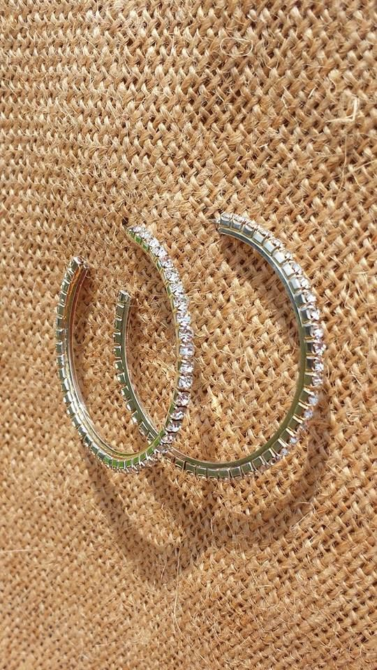 "Michi's Boutique - $12.00   Crystal Diamond Earrings, 1 3/4"" Hoop (2) Available"