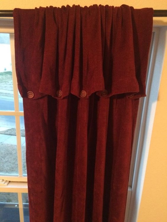 Croscill Chenille Button Down Curtain 2 Panels Wine Burgundy 95 ...