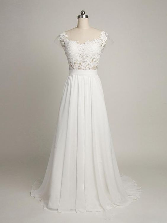 Simple a line cap sleeves sweetheart long chiffon wedding for Long sleeve chiffon wedding dress