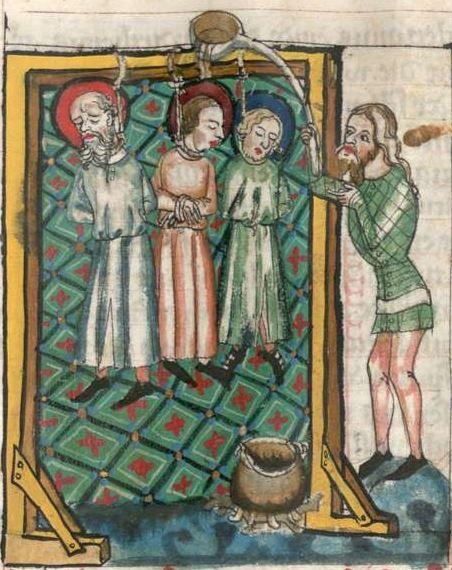 Jacobus : Legenda sanctorum aurea, verdeutscht in elsässischer Mundart [u.a.] 1362  Cgm 6 Folio 136