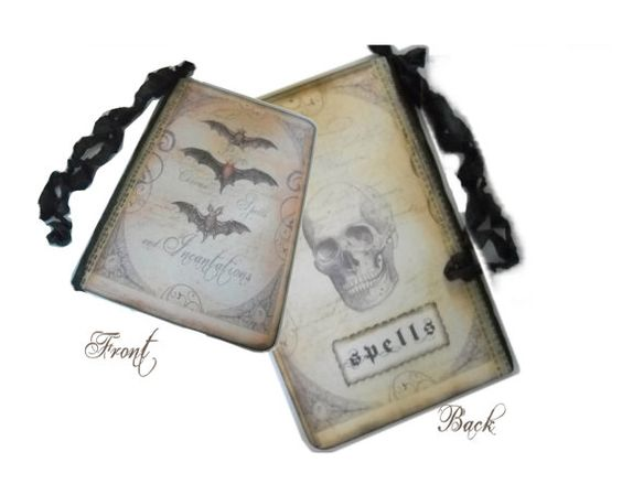 Halloween Spells Journal, Skull, Repurposed Moleskine, Spells, Charms, Incantations, Pocket Journal Tags