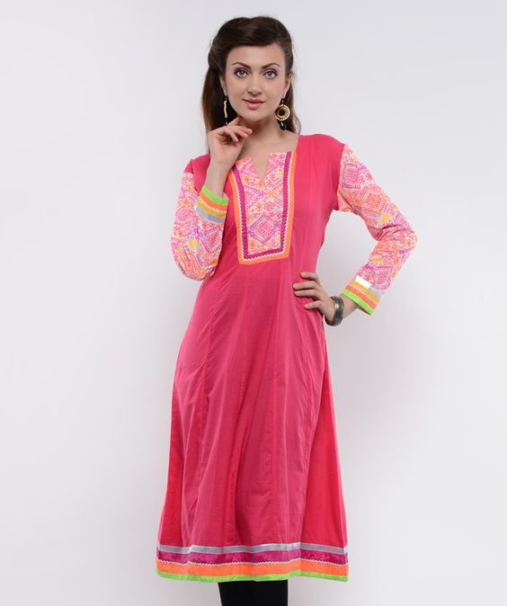 A traditional powerhouse that packs a punch, sounds like our edit of casual summer kurtis. These ethnic numbers go well with leggings or denims. From bright summer hues to ice-cream colors, these kurtis spell elegance and accentuate your curvaceous figure. So, come take a look at our rich designs and prints and take your pick. We guarantee you'll still be turning heads in this Indian attire.BRAND: NavyouCATEGORY: KurtaCOLOUR: Dark PinkMATERIAL: Cotton Blend