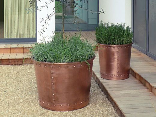Large and Small Riveted Copper Cauldrons in Natural Finish by Bronzino: