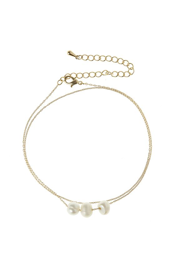 "A delicate gold chain accented with 3 freshwater pearls and a clasp closure. Can be worn as a wrap around bracelet.  Approx. Measures:16""-19"" long chain.  3 Pearl Necklace by Caroline Hill. Accessories - Jewelry - Necklaces - Delicate Utah"
