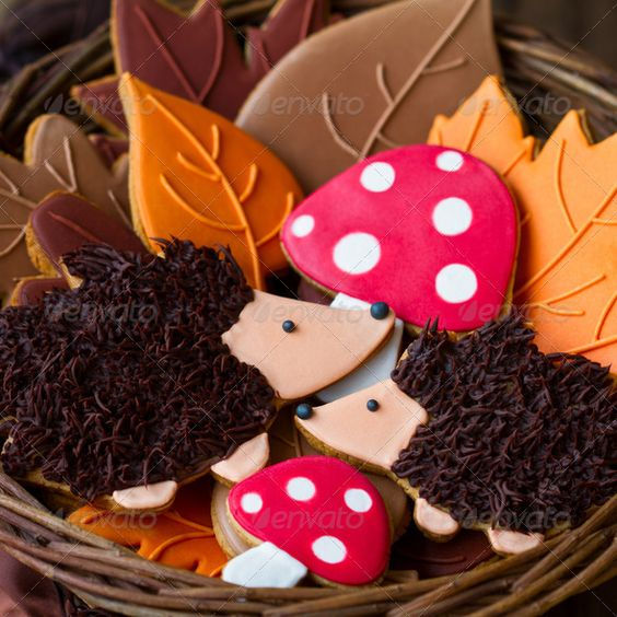 Woodland Theme Party Hedgehog Cookies. Leaves and toadstool mushrooms. Ideas for Woodland Party sugar cookies decoration. Stock photo.