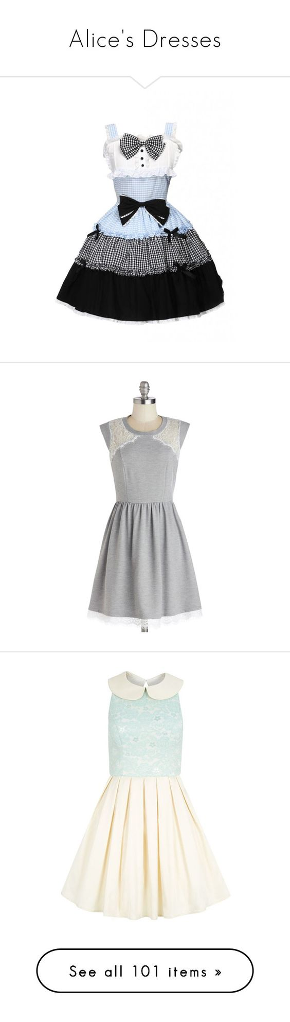 """""""Alice's Dresses"""" by disneydressing ❤ liked on Polyvore featuring dresses, lolita, modcloth, grey, apparel, fashion dress, multi color dress, mid length dresses, lace dress and grey dress"""