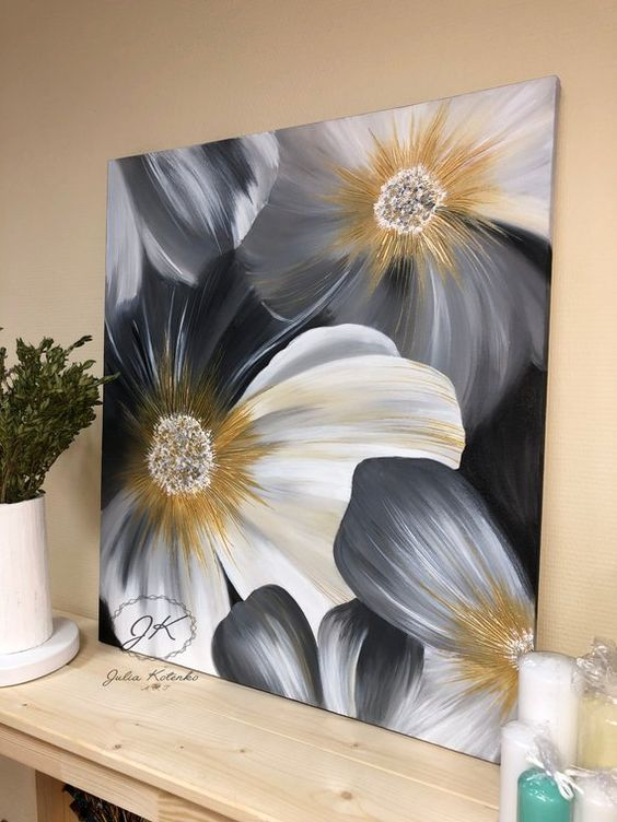 Flower Painting Wall Art Large Abstract Painting Gray | Etsy