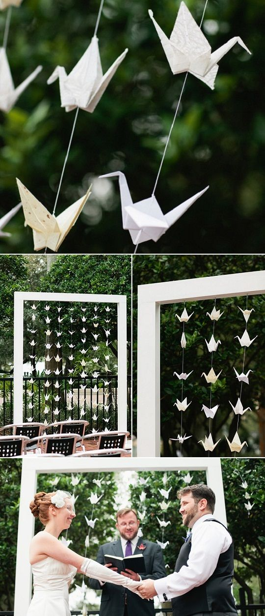 Origami na decoração de casamento - Tsurus. Um charme para quem quer casar no fim de tarde ao ar livre.: