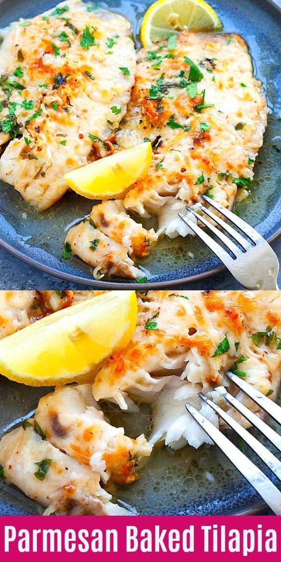 Lemon Parmesan Baked Tilapia - Keto fish meals
