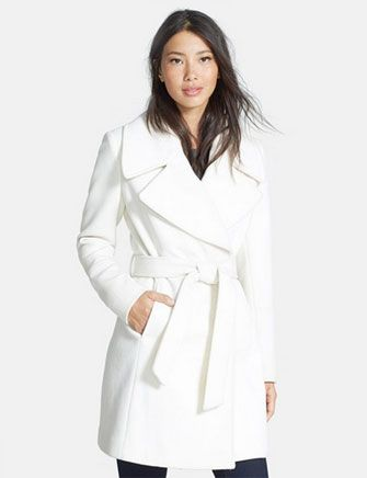 T Tahari - Belted Notch Collar Wool Blend Coat clean and crisp ...