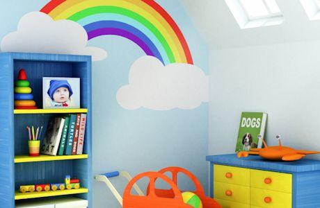 Rainbow themed kids 39 room rainbow themed bedroom ivy for Rainbow themed baby nursery