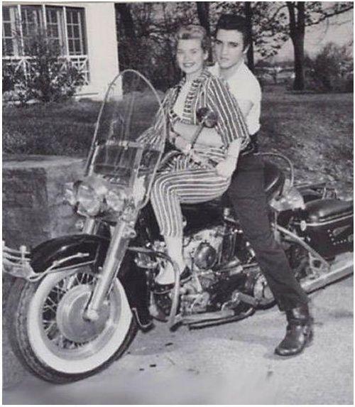 Elvis Presley with Yvonne Lime on his 1957Harley-Davidson.