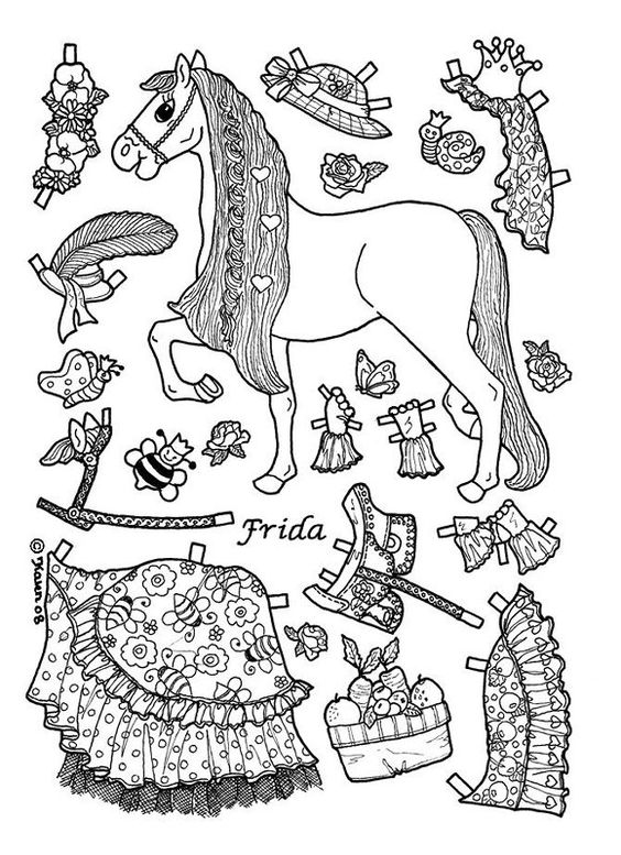 princess pony paper doll coloring page: