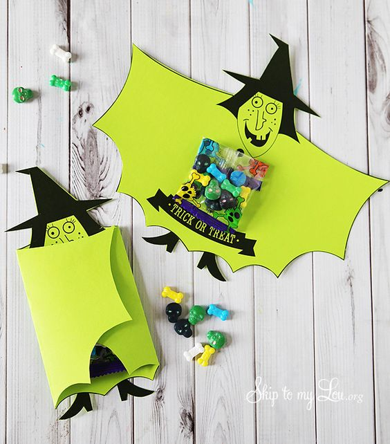 Witch candy covers for a halloween treat- free to download and print #halloween #printable #witch skiptomylou.org: