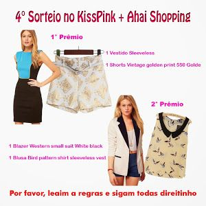 KissPink: 4° Sorteio KissPink + Ahai Shopping Internacional (Giveaway International) + 100 inscritos até 23/09/13