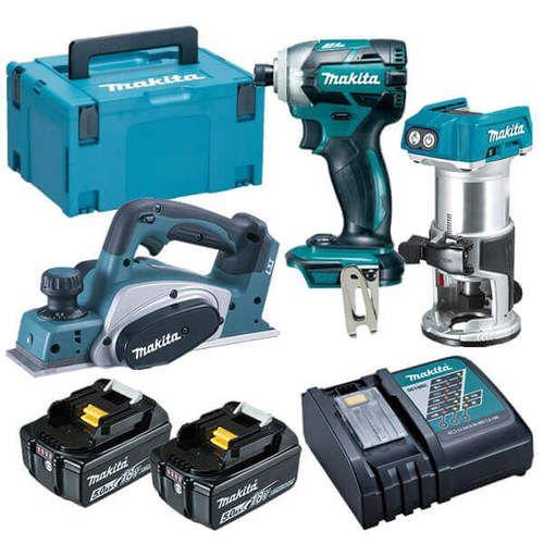 Makita 18v 5 0ah 3pce Cordless Combo Kit Dlx3104tj Combo Kit Cordless Power Tools Makita