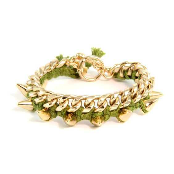 Olive Cotton Thread Bracelet on Link Chain with Gold Spikes