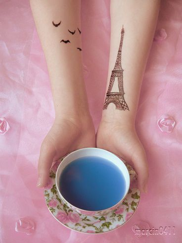 Bird and Eiffel tower tats