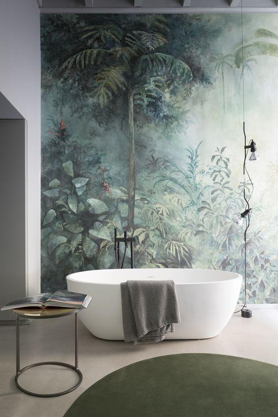 Forest Wallpaper For Contemporary Bathroom Designs Bathroom