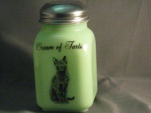 Green Milk Glass Cream of Tartar Spice Shaker with Caz the Cat Logo by Mossopeddler. $17.99. American Made Glassware. Fired On Decals for Long Lasting. Timeless Sitting Cat Theme. Very charming cottage theme. Great mixing bowls. See our entire line of Jade green milk glass, Jadeite, hand made in America. This is a must for the cat lovers in all of us.   Be sure to collect the entire set. We call this our Cazzabella line.  Named for our wonderful russian blue loo...