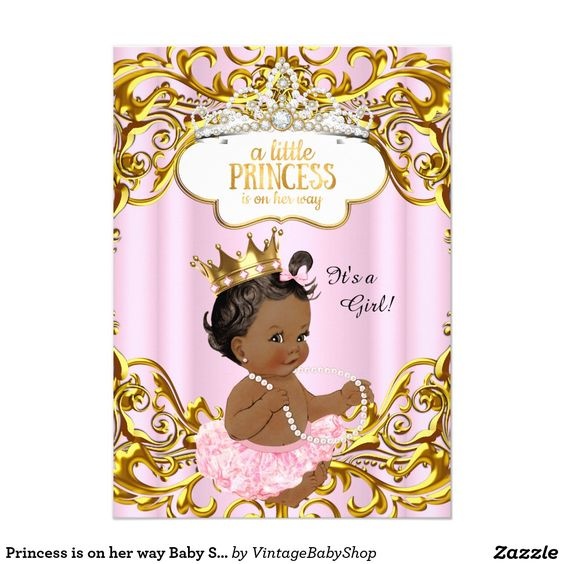 Princess is on her way Baby Shower Pink Ethnic 5x7 Paper Invitation Card