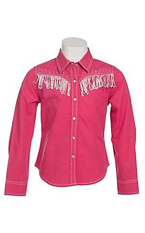 Cumberland Outfitters Girl's Fuchsia with White Fringe & Rhinestones Long Sleeve Western Shirt | Cavender's