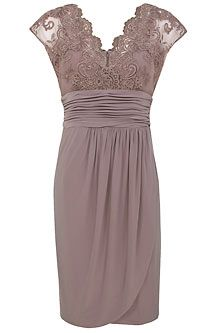 Lace top dress taupe and lace tops on pinterest for Taupe lace wedding dress