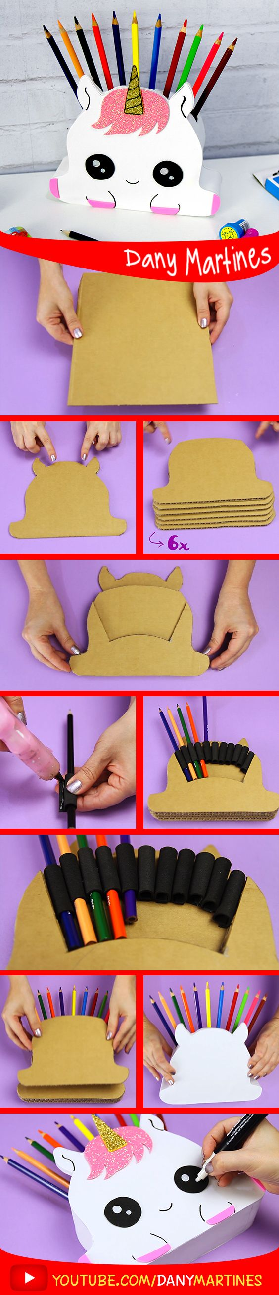 Faça você mesmo unicornio porta lapis super fofo cute kawaii, diy , do it yourself, Dany Martines unicorn