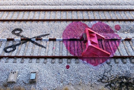 Colorful Street Art on the Train Tracks of Portugal by Artur Bordalo  http://www.thisiscolossal.com/2014/07/colorful-street-art-on-the-train-tracks-of-portugal-by-artur-bordalo/