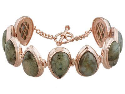 Timna Jewelry Collection(Tm) Pear Shape Cabochon Labradorite Copper Line Bracelet