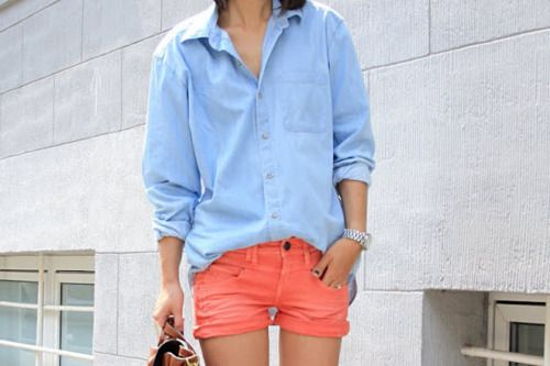 Love the color of these shorts and the jean shirt!