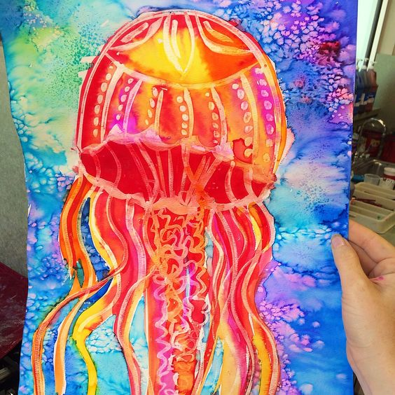 Jellyfish ocean art- using white glue and water colours