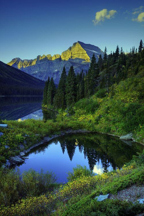 ponderation:  Lake Josephine and Mount Gould (Vertical) by bern.harrison