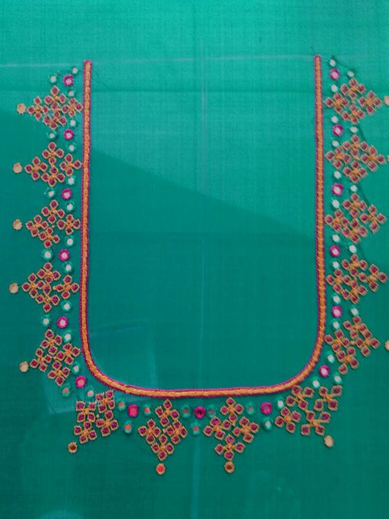 Thread work blouse by padma creations pinterest
