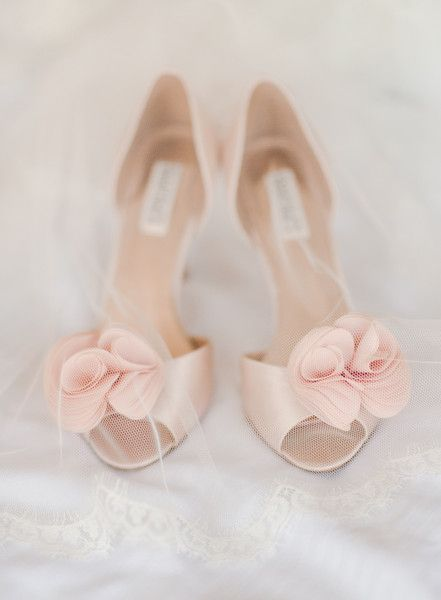 Pastel, blush pink satin bridal shoes for a soft pop of pink {Rebecca Yale Photography}: