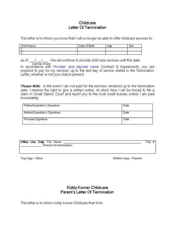 Daycare Termination Letter For Non Payment Download This Daycare Termination Letter For Customers That Are No Daycare Names Starting A Daycare Daycare Center