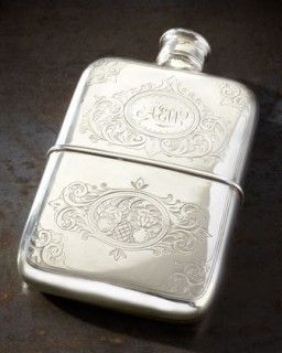 Silver engraved flask ~
