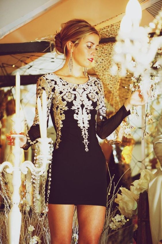 Vintage Inspired Embroidered Black Dress w/ white lace silver appliqués. So beautiful: