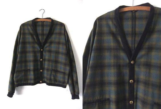 vintage Pendleton Plaid Wool Cardigan  Tartan by BuddyBuddyVintage