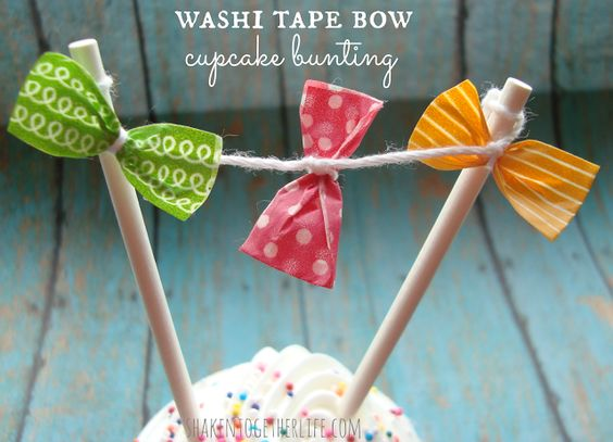 washi tape bow cupcake bunting at shakentogetherlife.com