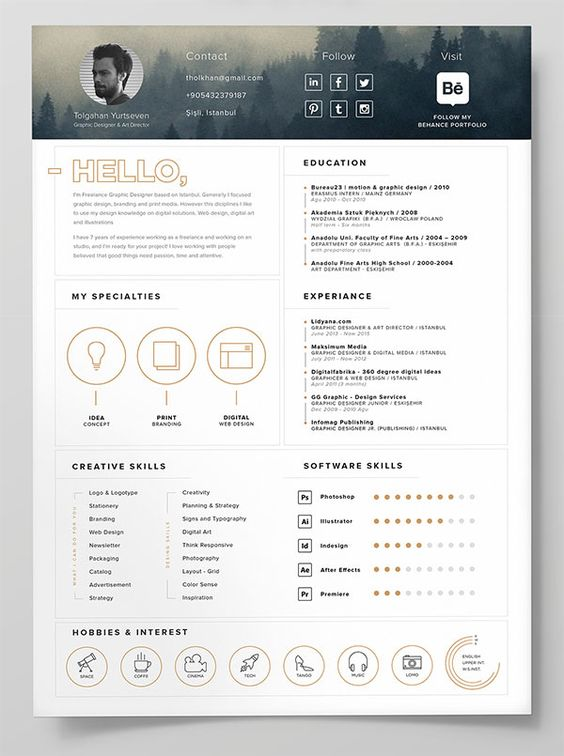 10 Best Free Resume (CV) Templates In Ai, Indesign, Word | Graphic Concepts  | Pinterest | Cv Template, Resume Cv And Cv Ideas  Create A Free Resume And Download