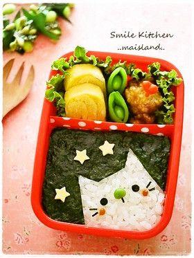 日本人のごはん/お弁当 Japanese meals/Bento 簡単!夜の猫弁当 easy cat bento w/ recipe