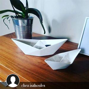 Vide-poches bateau en porcelaine (par 3) Origami Seletti